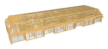 3D-Holzbaumodell einer Aufstockung