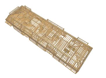 3D-Holzbauodell eines Dachausbaus
